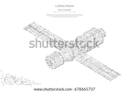 Abstract mash line and point Orbital space station on white background with an inscription. Starry sky or space, consisting of stars and the universe. Vector business illustration