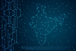Abstract mash line and point scales on Circuit dark background with map of India. Wire frame 3D mesh polygonal network line, design sphere, dot and structure. Vector illustration eps 10.