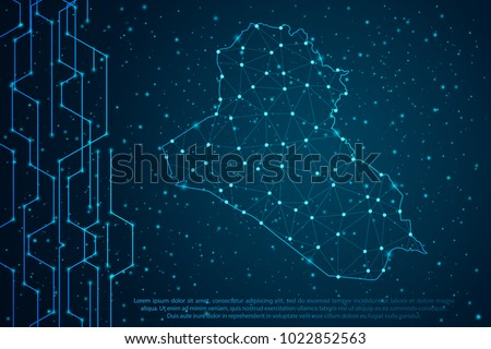 Abstract mash line and point scales on Circuit dark background with map of Iraq. Wire frame 3D mesh polygonal network line, design sphere, dot and structure. Vector illustration eps 10.