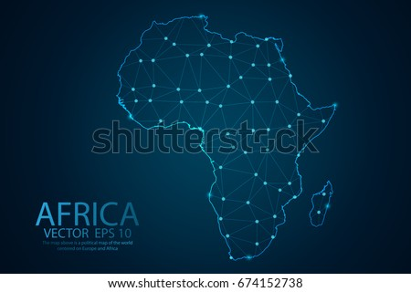 Map vector de frica abstract mash line and point scales on dark background with map of africa wire frame ccuart Image collections