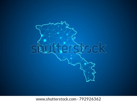 Abstract mash line and point scales on dark background with Map of armenia. Wire frame 3D mesh polygonal network line, design sphere, dot and structure. communications map of armenia. Vector.