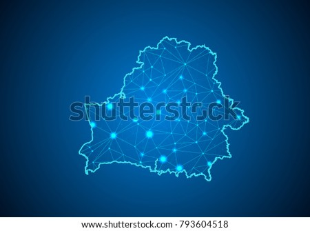 Abstract mash line and point scales on dark background with Map of belarus. Wire frame 3D mesh polygonal network line, design sphere, dot and structure. communications map of belarus. Vector.