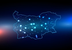 Abstract mash line and point scales on dark background with map of bulgaria. 3D mesh polygonal network line, design sphere, dot and structure. Vector map of bulgaria with glowing points.