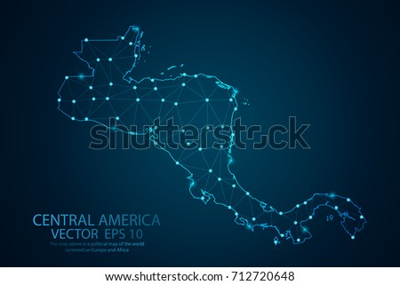 Abstract mash line and point scales on dark background with map of Central america. Wire frame 3D mesh polygonal network line, design sphere, dot and structure. Vector illustration eps 10. Stock photo ©