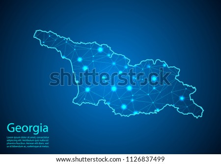 Abstract mash line and point scales on dark background with map of georgia. Best Internet Concept of georgia business from concepts series. Wire frame 3D mesh polygonal network line and dots.