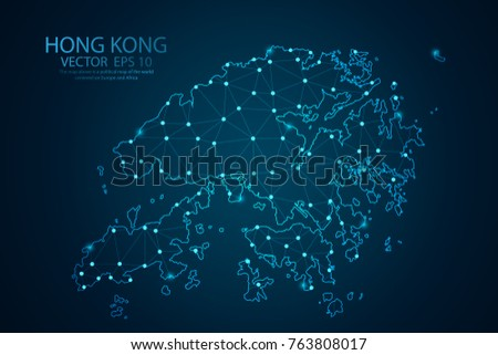 Abstract mash line and point scales On dark background with map of Hong Kong. Wire frame 3D mesh polygonal network line, design sphere, dot and structure. Vector illustration eps 10