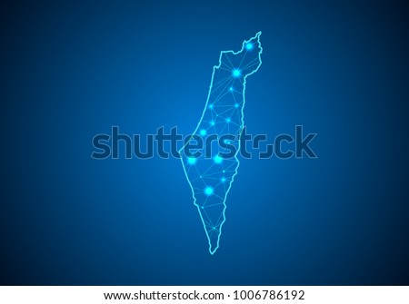 Abstract mash line and point scales on dark background with Map of israel Palestine. Wire frame 3D mesh polygonal network line, design sphere, dot and structure. communications map of israel Palestine