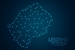 Abstract mash line and point scales on dark background with map of Lesotho. Wire frame 3D mesh polygonal network line, design sphere, dot and structure. Vector illustration eps 10.