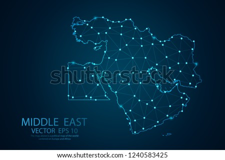 Abstract mash line and point scales on Dark background with map of Middle East. Wire frame 3D mesh polygonal network line, design polygon sphere, dot and structure. Vector illustration eps 10.