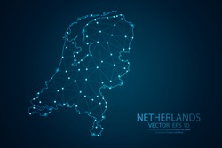 Abstract mash line and point scales on Dark background with map of Netherlands. Wire frame 3D mesh polygonal network line, design polygon sphere, dot and structure. Vector illustration eps 10.