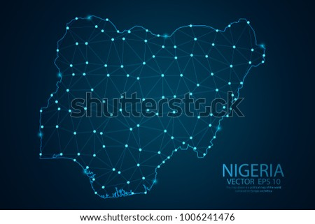 Abstract mash line and point scales on dark background with map of Nigeria. Wire frame 3D mesh polygonal network line, design sphere, dot and structure. Vector illustration eps 10.