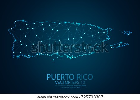 Abstract mash line and point scales on dark background with map of Puerto rico. Wire frame 3D mesh polygonal network line, design sphere, dot and structure. Vector illustration eps 10.