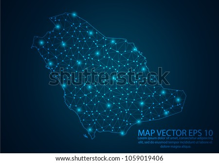 Abstract mash line and point scales on dark background with map of Saudi Arabia.3D mesh polygonal network line, design sphere, dot and structure. Vector illustration eps 10.