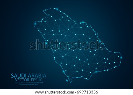 Abstract mash line and point scales on dark background with map of Saudi arabia . Wire frame 3D Mesh polygonal network line, design sphere, dot and structure. Vector illustration eps 10.