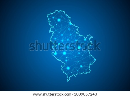 Abstract mash line and point scales on dark background with Map of Serbia. Wire frame 3D mesh polygonal network line, design sphere, dot and structure. communications map of Serbia. Vector.