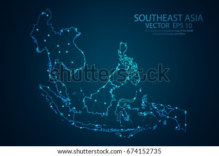 Abstract mash line and point scales on dark background with map of Southeast Asia. Wire frame 3D mesh polygonal network line, design sphere, dot and structure. Vector illustration eps 10.