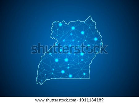 Abstract mash line and point scales on dark background with Map of uganda. Wire frame 3D mesh polygonal network line, design sphere, dot and structure. communications map of uganda. Vector.