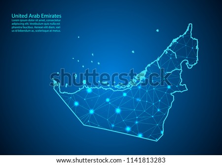Abstract mash line and point scales on dark background with map of united Arab Emirates. Best Internet Concept of UAE business from concepts series. Wire frame 3D mesh polygonal network line and dots.