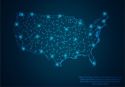 Abstract mash line and point scales on dark background with map of United States of America.3D mesh polygonal network line, design sphere, dot and structure. Vector illustration eps 10.