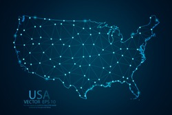 Abstract mash line and point scales on dark background with map of United States of America. Wire frame 3D mesh Usa polygonal network line, design sphere,dot and structure. Vector illustration eps 10.