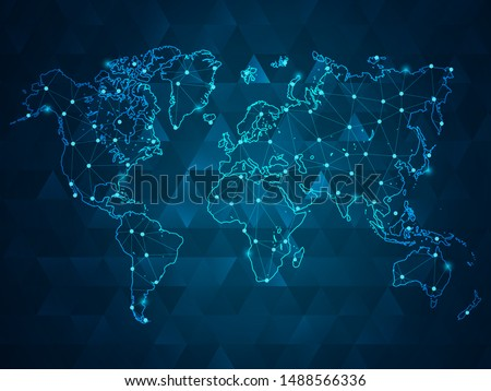 Abstract mash line and point scales on dark background with Map World. Wire Frame 3D mesh polygonal network line, design sphere, dot and structure. Vector illustration eps 10.