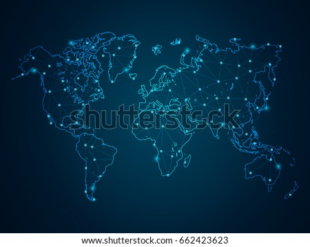 Abstract mash line and point scales on dark background with Map World. Wire Frame 3D mesh polygonal network line, design sphere, dot and structure. Vector illustration eps 10. #662423623