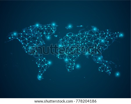 Abstract mash line and point scales on dark background with Map World. Wire frame 3D mesh polygonal network line, design sphere. Vector illustration eps 10.