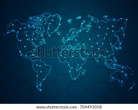 Abstract mash line and point scales on hexagon dark background with Map World. Wire frame 3D mesh polygonal network line, design sphere, dot and structure. Vector illustration eps 10.