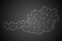 Abstract Mash Line and Point Scales on The Dark Gradient Background With Map of Austria. 3D Mesh Polygonal Network Connections.Vector illustration eps10.