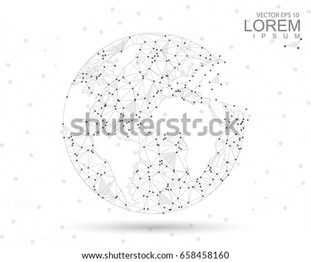 Abstract mash line and point scales on white background with Global. Wireframe 3D mesh polygonal network line, design sphere, dot and structure. Vector illustration eps 10.