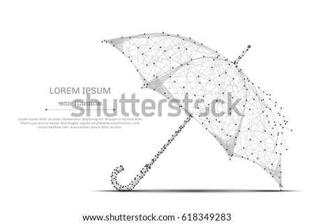 Abstract mash line and point umbrella on white background with an inscription. Starry sky or space, consisting of stars and the universe. Vector business illustration