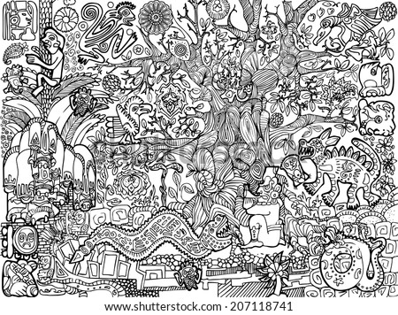 Abstract mayan background with plants, animals, reptiles, flowers, masks, people and symbols.