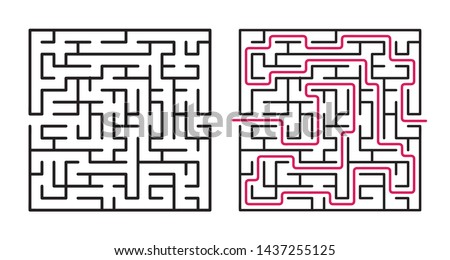 Abstract maze / labyrinth with entry and exit. Vector labyrinth 263.
