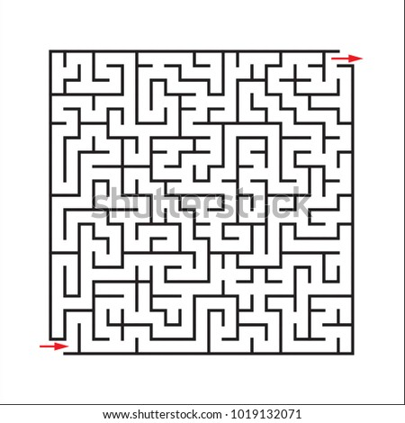 Abstract maze of a rectangle with an input and an output. Empty labyrinth and labyrinth with path of passage. Vector illustration.