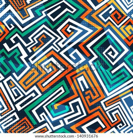 abstract maze seamless pattern