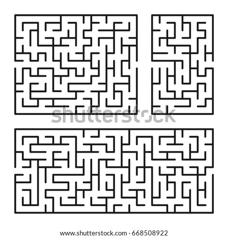 Abstract mazes / labyrinths with entry and exit. Vector labyrinths 167.