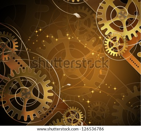 Abstract mechanical background with floral elements, vector illustration
