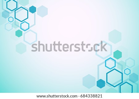 Abstract medical background. DNA research. Hexagonal structure molecule and communication background for medicine, science, technology. Vector illustration