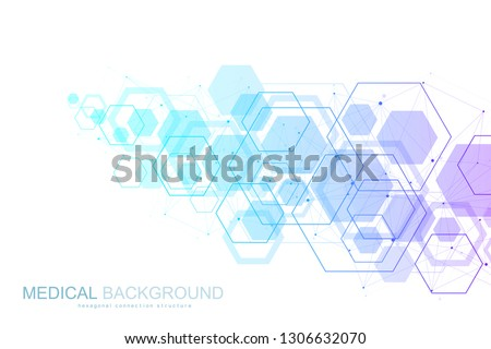 Abstract medical background DNA research, molecule, genetics, genome, DNA chain. Genetic analysis art concept with hexagons, waves, lines, dots. Biotechnology network concept molecule, vector