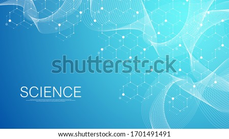 Abstract medical background DNA research, molecule, genetics, genome, DNA chain. Genetic analysis art concept with hexagons, waves, lines, dots. Biotechnology network concept molecule, vector.