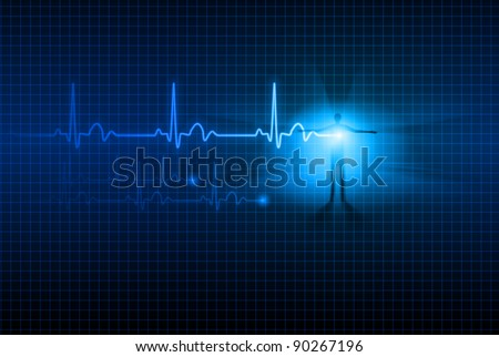 Abstract Medical background. ECG. Illustration for design.