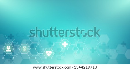 Abstract medical background with flat icons and symbols. Concepts and ideas for healthcare technology, innovation medicine, health, science and research Stock foto ©