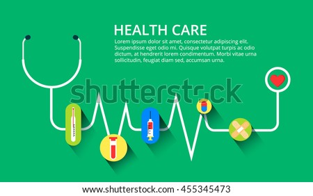 Abstract medical cardiology ekg background. Heart with Stethoscope. Medical concept. Vector illustration. Health care