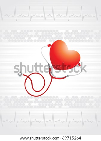 abstract medical heartbeat background with stethoscope, heart