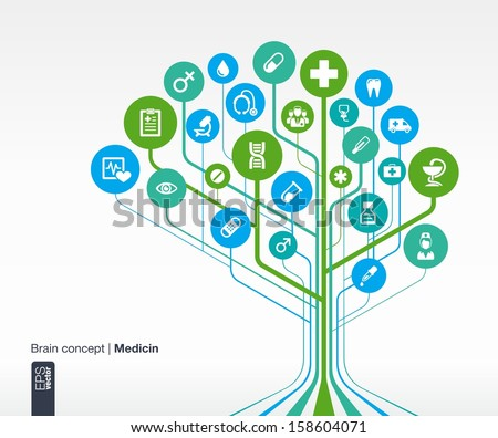 Abstract medicine background. Brain concept with medical, health, healthcare, nurse, tooth, thermometer, doctor, pills and cross icon. Vector infographic illustration.
