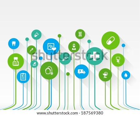 Abstract medicine background with lines, circles and flat icons. Growth concept contains medical, health, healthcare, nurse, tooth, thermometer, pills and cross icons. Vector illustration.