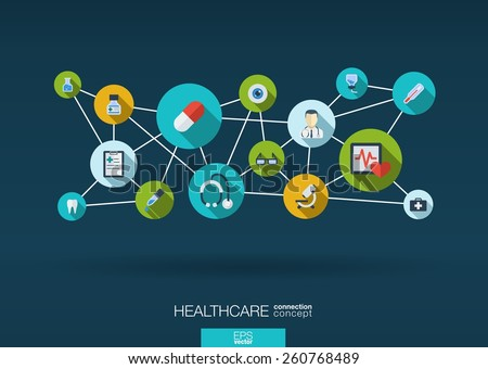 Abstract medicine background with lines, circles and integrate flat icons. Infographic concept with medical, health, healthcare, nurse, DNA, pills connected symbols. Vector interactive illustration.