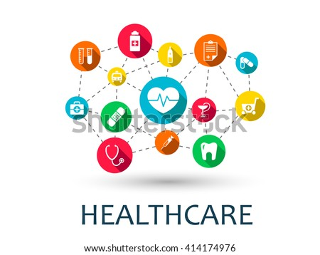 Abstract medicine background with lines, circles and integrate flat icons. Infographic concept with medical, health, strategy, healthcare, nurse, DNA, pills connected symbols. Vector interactive.