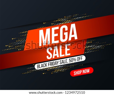 Abstract Mega sale banner with gold halftone glitter effect for special offers, sales and discounts. Promotion and shopping template for Black Friday 50% off
