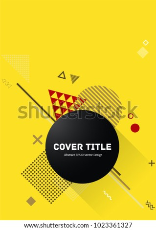 Abstract memphis design placard pattern with white, red and brown shapes on bright yellow background. Cool memphis texture placard page. Front page design for student notebook, dairy or notepad.